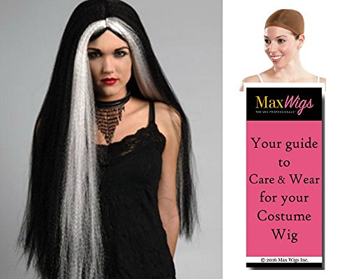 Elvira Costumes Wig (Bundle 3 items: Witch 30 Inch Long Hippie Vampire Cosplay Halloween Straight Wig Enigma Wigs - Black with Streaks, Wig Cap, MaxWigs Costume Wig Care Guide)