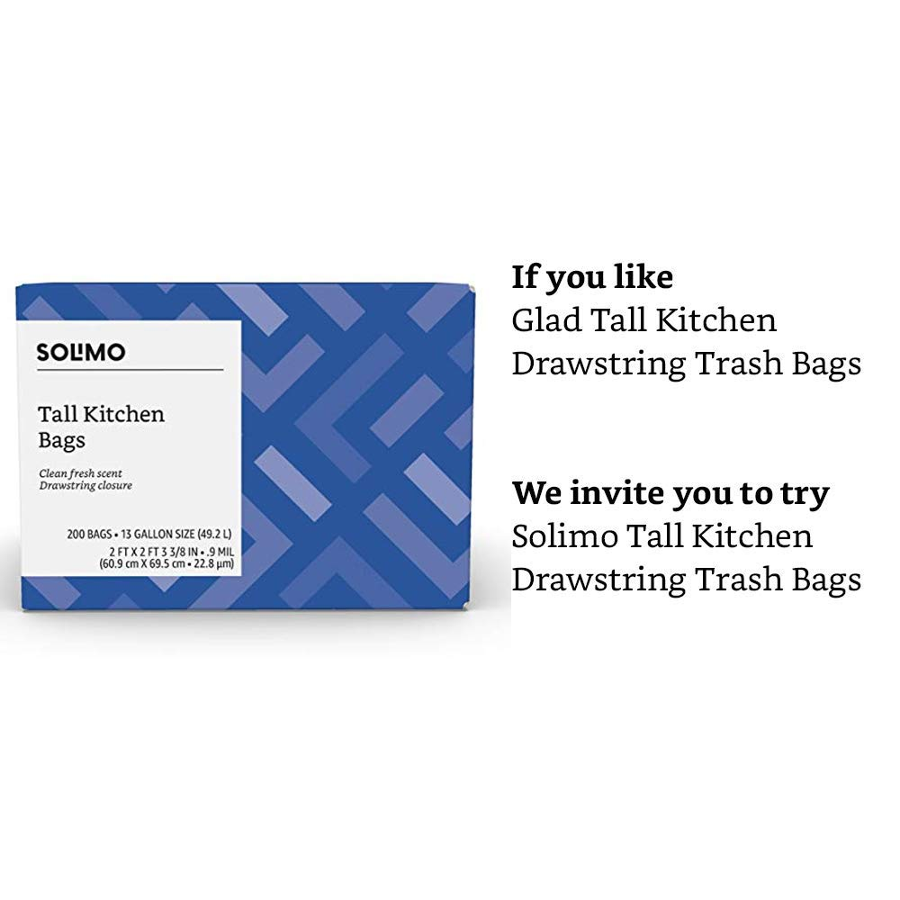 Amazon Brand - Solimo Tall Kitchen Drawstring Trash Bags, Clean Fresh Scent, 13 Gallon, 200 Count by SOLIMO (Image #3)