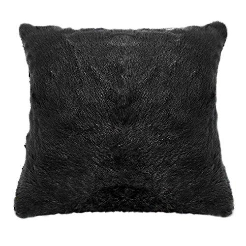 Fur Throw Pillow Covers : Home Decor Throw Pillow Case Covers 18 x 18 Inches Faux Fur Cushion, Black eBay