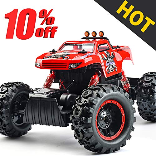 Remote Control Trucks Monster RC Car 1: 12 Scale Off Road Vehicle 2.4Ghz Radio Remote Control Car 4WD High Speed Racing All Terrain Climbing Car Toys Car Gift for Boys (Red) by NQD (Image #6)