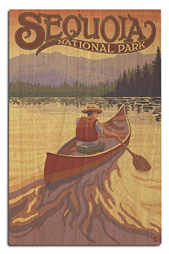 Sequoia National Park - Canoe Scene (12x18 Wood Wall Sign, Wall Decor Ready to Hang) (Sequoia Canoe)