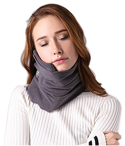 Elezay Neck Support Pillow Scarf Warp for Traveling and Sleeping on Airplane&Train&Bus Black 19-19-9CM (Plastic U-shape Purse Handle)