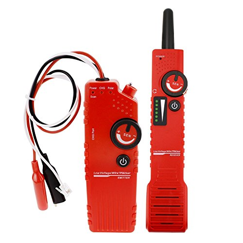 Anti-jamming Underground Cable Tracker Detector Wire Locator Low Voltage w/ Polarity Test Function ,Locate Pet Fence Wires,Sprinkler Wires,Metal Pipes,Electrical Wires,Tel Wire,Coax Cable 110V - Tester Line Tel