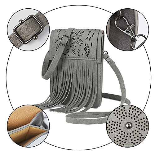 with Tassel Lightweight Grey WOZEAH Medium Crossbody Bag zXnq0RZ
