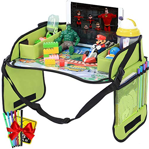 Innokids Kids Travel Lap Tray Children Car Seat Activity Snack and Play Tray Desk with Erasable Surface, iPad & Tablet Holder, Detachable Organizers for Cars, Planes & Baby Stroller (Fruit - Desk Travel Lap