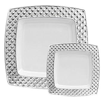 TTG 200-Piece Plastic Dinnerware Set | Square Diamonds Collection | (100) Dinner  sc 1 st  Amazon.com & Amazon.com: TTG 200-Piece Plastic Dinnerware Set | Square Diamonds ...