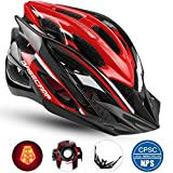 Basecamp Specialized Bike Helmet with Safety Light,Adjustable Sport Cycling Helmet Bicycle Helmets for Road & Mountain Motorcycle for Men & Women,Youth Safety Protection (BlackWhiteRed-BigLight) Review