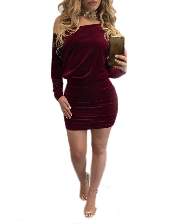 Cfanny Women's Sexy Off Shoulder Long Sleeve Velvet Club Party Dress