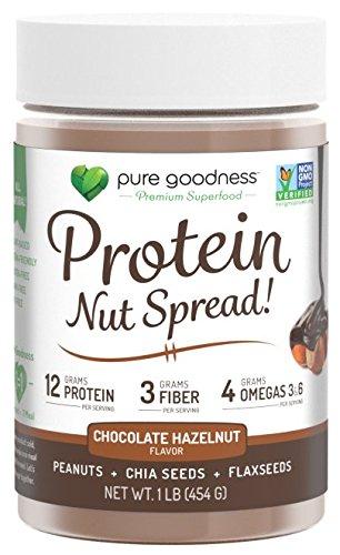 Pure Goodness Nut Butter Spread- Chocolate Hazelnut, Vegan,16oz, Non GMO Verified, Dairy Free, Soy Free, Gluten Free, 12 grams protein