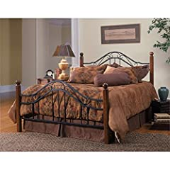 This madison collection bed is a popular combination of wood and iron elements make this a great design. square solid wood posts are combined with black metal bed grills. round twisted wire spindles. set includes one headboard, one footboard ...