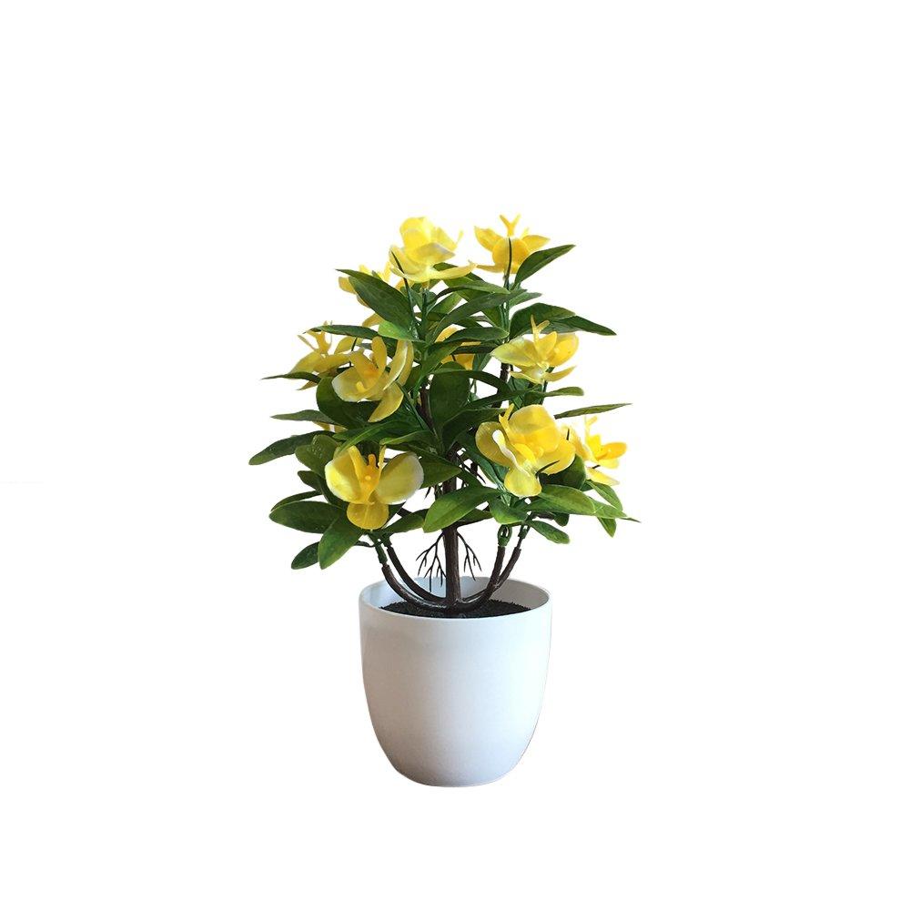 urijk人工植物 – 小さな人工トピアリーPlant in Pot – Fake Mini Potted Flower Arrangements for Home Decorデスクオフィスリビングルーム装飾 27*19cm イエロー Mengor13X2Y79 B07CYXSHW7 イエロー