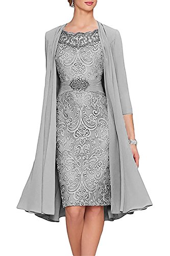VaniaDress Knee Lenth Mother of The Bride Dress with Jacket Evening Gown V110LF Sliver US8