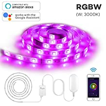 Megulla Smart Wifi LED Light Strip, 6.5ft/2m RGBW(W: Warm White) Wireless Strip Light Kit with App Control, Dimmable, Extensible, 16million Colors, IP65 Waterproof, Compatible With Google Assistant and Amazon Alexa -Starter Kit