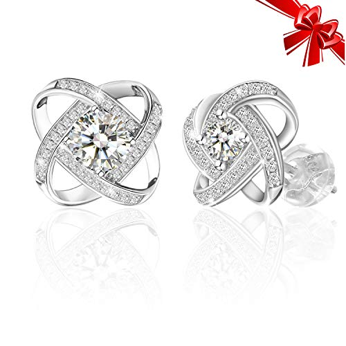 J.Rosée Christmas Jewelry Gifts Packing 925 Sterling Silver Simple Accent Knot Small Stud Earrings for Women