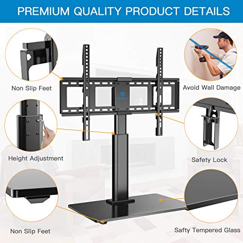 PERLESMITH Swivel TV Stand Universal Table Top TV Base for 32 to 65 inch LCD LED OLED 4K Flat Screen TVs - Height Adjustable TV Mount Stand with Tempered Glass Base, VESA 600x400mm