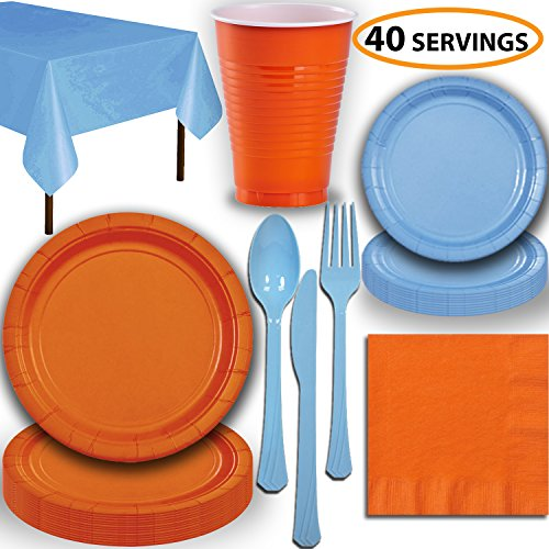 Disposable Party Supplies, Serves 40 - Orange and Light Blue - Large and Small Paper Plates, 12 oz Plastic Cups, Heavyweight Cutlery, Napkins, and Tablecloths. Full Two-Tone Tableware Set