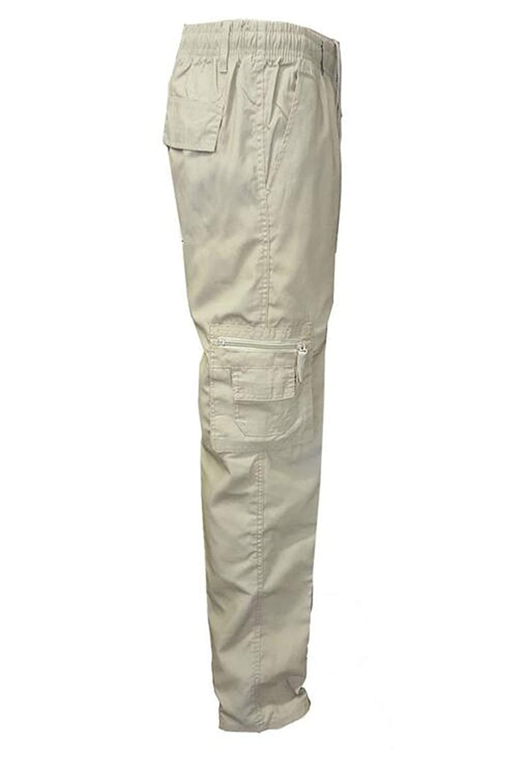GRMO Men High Waist Cotton Multi Pockets Cargo Pants with Stretch