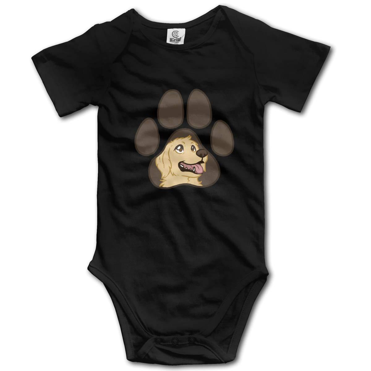 Black-Brown Paw Dog Infant Boys Girls Jumpsuit Short-Sleeve Romper Bodysuit