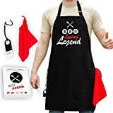 GrilliACS BBQ Apron - Big Pockets + Bottle Opener & Towel Included - 100% Cotton Canvas - Best Birthday Gift -