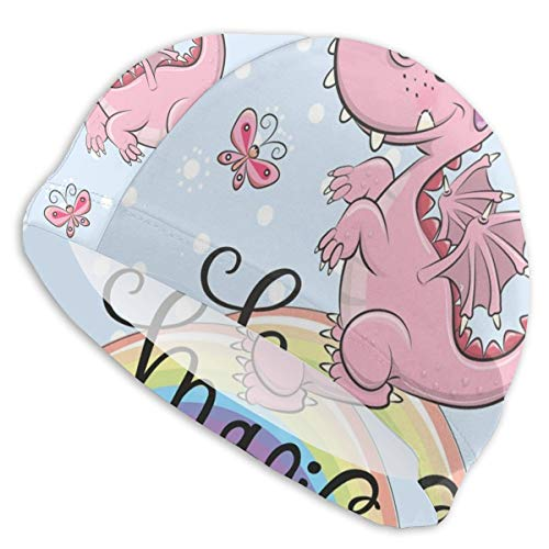 K0k2to Swimming Cap Elastic Swimming Hat Diving Caps,Magic Typography in Cursive with A Pink Cartoon Animal On A Rainbow,for Men Women Youths -