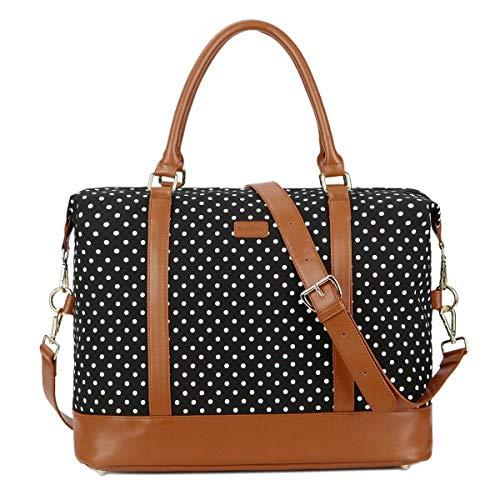 - BAOSHA HB-28 Ladies Women Canvas Travel Weekender Bag Overnight Carry-on Shoulder Duffel Tote Bag (Black Dot)
