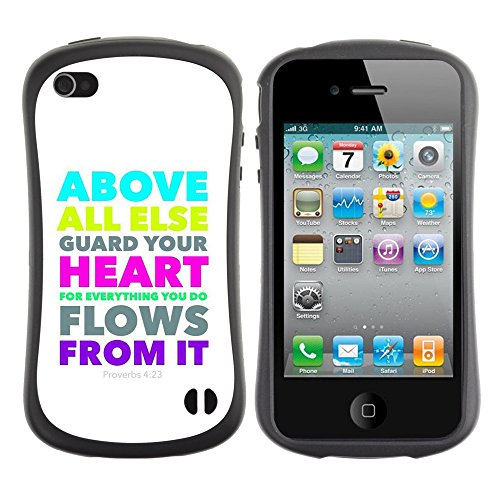 DREAMCASE Citation de Bible Silicone et Rigide Coque Protection Image Etui solide Housse T¨¦l¨¦phone Case Pour APPLE IPHONE 4 / 4S - PROVERBS 4:23 ABOVE ALL ELSE GUARD YOUR HEART