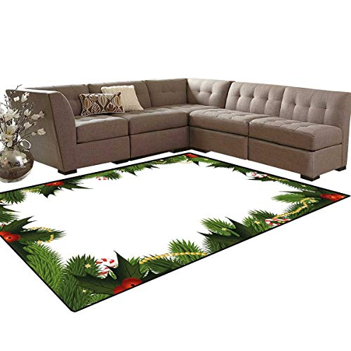 New Year Anti-Skid Area Rugs Frame Style Garland Pattern Mistletoes Candy Canes and Chain on Fir Tree Motif Customize Door mats for Home Mat 6