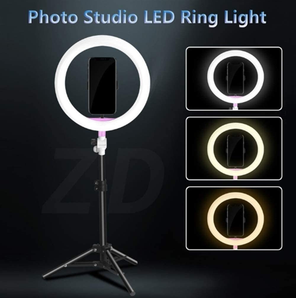 FDGBCF LED Ring Light 10 Photography Dimmable Selfie Light with Tripod Stand Phone Holder for Video//Makeup//Live//Stream
