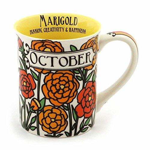 Enesco 6000061 Our Name Is Mud October Birthday Flower Stoneware Coffee Mug, 16 oz, -