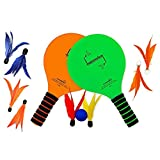 Jazzminton Indoor/Outdoor Paddle Game for All Ages with LED and Replacement Birdies