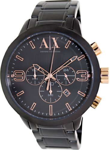 Armani Exchange Atlc Chronograph Black Dial Black Ion-plated Mens Watch AX1350 Black Ion Chronograph Watch