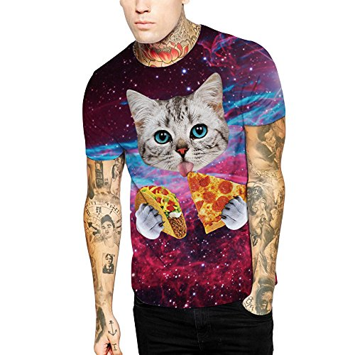 Sperrins Teens Fashion Casual T-Shirts Pizza Cat Printed Short Sleeve Tshirts Cool Tops Shirts Large by Sperrins