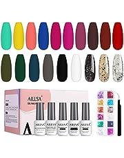 AILLSA Gel Nagellak Set 24 stuks Naakt Roze Geel Blauw Wit UV nagellak Glitter Gel Polish Kit met No Wipe Glossy & Matte Top en Base Coat
