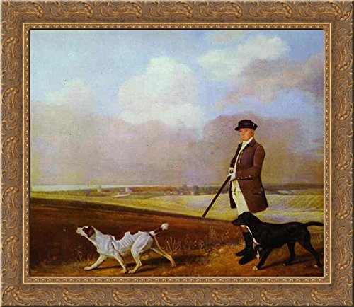 Sir John Nelthorpe, 6th Baronet out Shooting with his Dogs in Barton Field, Lincolnshire 24x20 Gold Ornate Wood Framed Canvas Art by George Stubbs