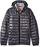 Tommy Hilfiger Men's Size Ultra Loft Insulated Packable Jacket with Contrast Bib and Hood, Charcoal, 2X Tall