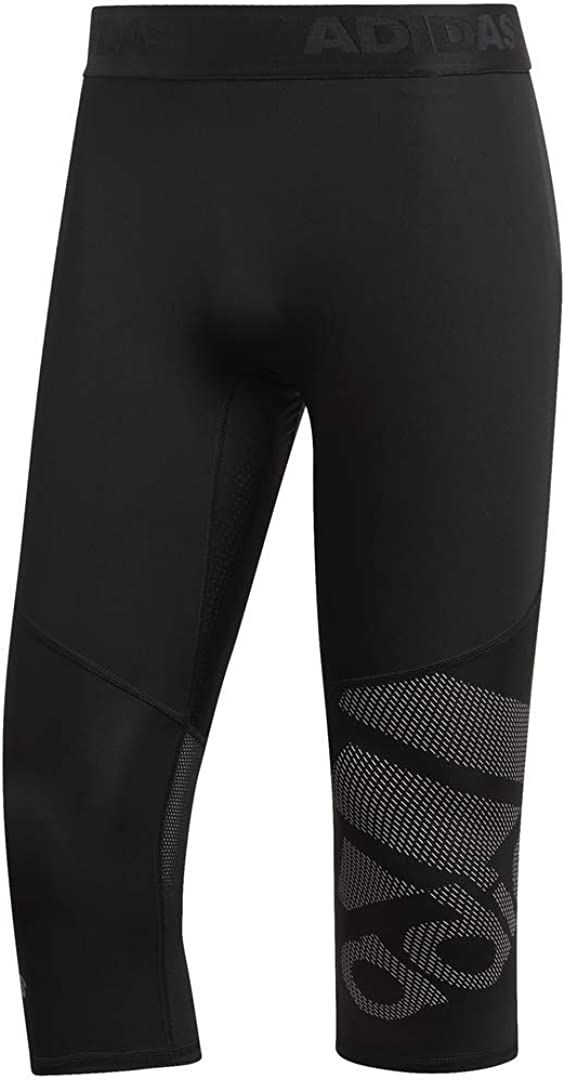 adidas Mens Alphaskin Sport Badge of Sport 3/4 Length Tight