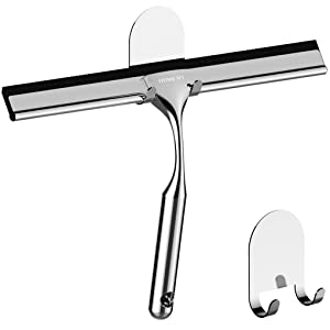 HOME SO Shower Squeegee Two 3M Adhesive Holder Hooks - Deluxe Stainless Steel Wiper Scraper Bathroom Shower Glass Door, Mirror, Windows, Tiles - Chrome