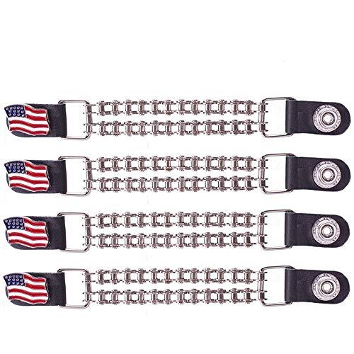 (Dealer Leather Double Chain American Flag Motorcycle Vest Extender Black)