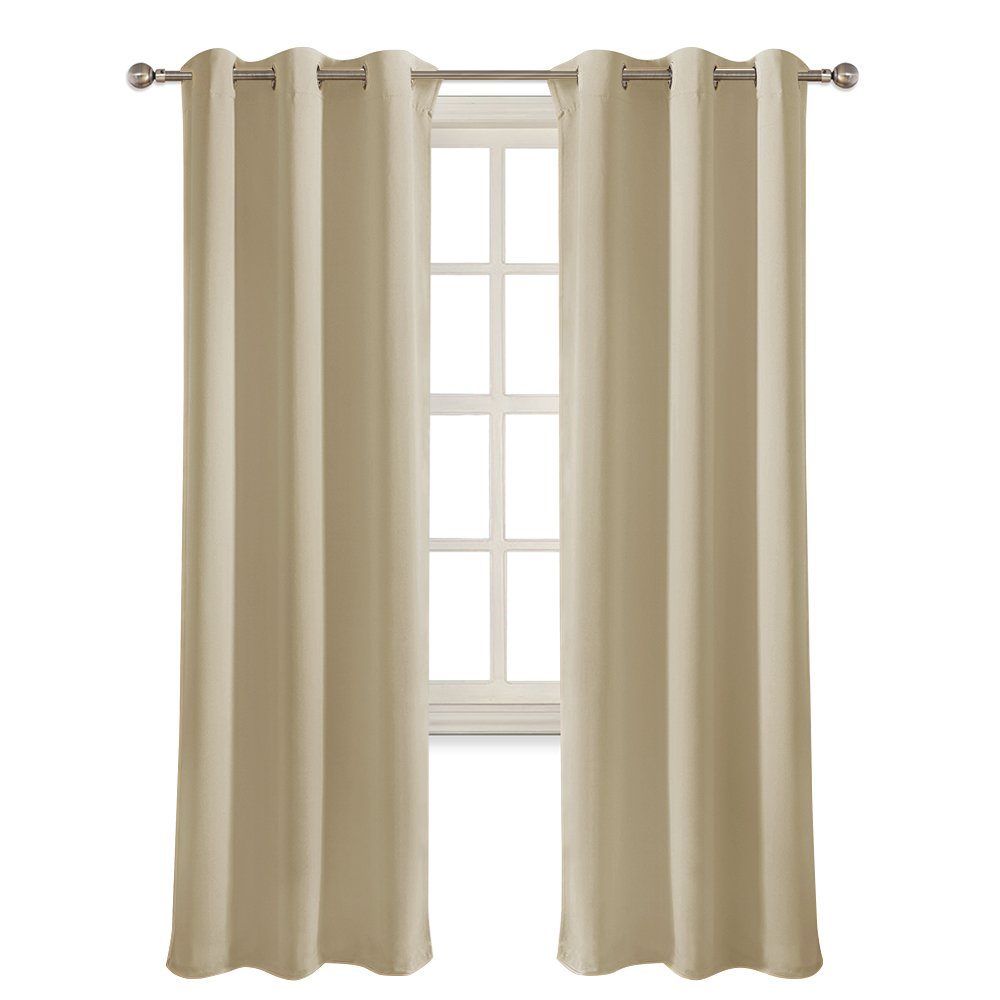 PONY DANCE Beige Window Curtains - Home Decoration Solid Window Treatments Room Darkening Thermal Insulated Drapes Blackout Draperies Panels Living Room, 42 72 inches, Beige, 1 Pair