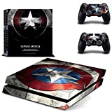 MightyStickers® PS4 Console Designer Protective Vinyl Decal Covers for Sony PlayStation 4 and Controller Skins Stickers - Marvel Comics The Avengers 2 Movie Super Titan Heroes Age of Ultron Captain America Shield