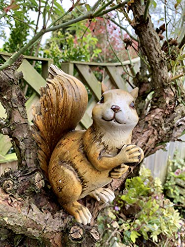 Ablerhome Decoration Climbing Red Squirrel Garden Sculpture Resin Fence Wall Hanging Animal Ornament NEW Gift (Red…