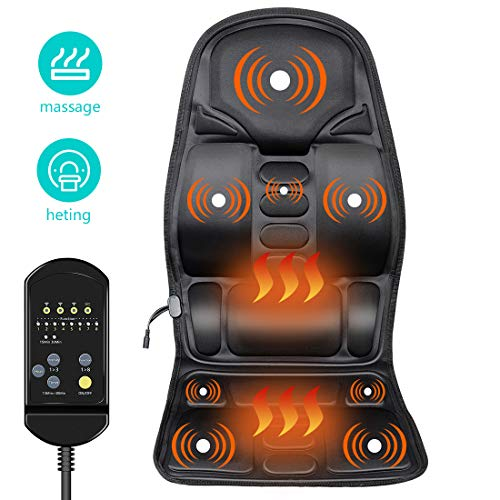 AURUZA Vibration Massage Seat Cushion Back Heating Massage Chair Pad for Home Office Car use with 5 Vibrating Motors and Heating Relax Thigh and Back