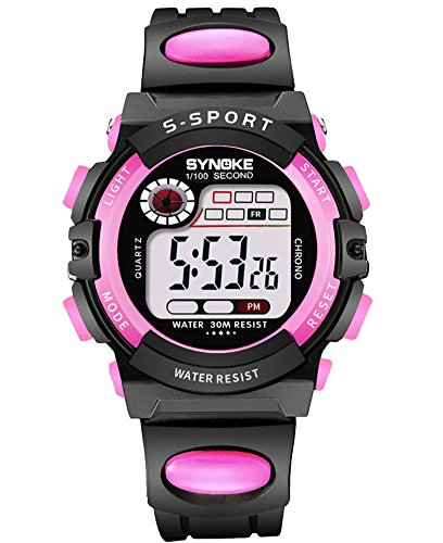 8c93d41841d Cheamlion Kids Girls Water Resistant Light Up Elastic Outdoor Digital Watch  by Cheamlion