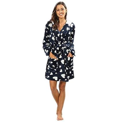 beautyjourney Pijama De Manga Larga De Franela Estampado De Mujeres Albornoz con Capucha Suelta Gruesa Pijama Capa de Sauna con Capucha: Amazon.es: Ropa y ...