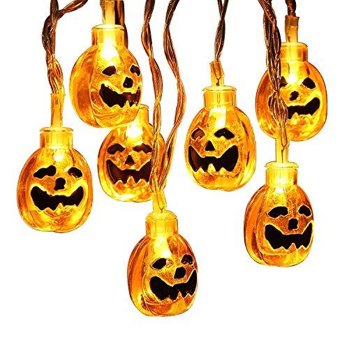 BT Halloween String Lights, Solar Light String,20FT 30LEDs 3D Pumpkin Lights,8 Modes Battery Operated Outdoor Halloween Lights, Warm -