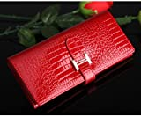 Eonice Fashion Womens Wallet Croco Embossed Genuine Leather Wallet Women Purse Red