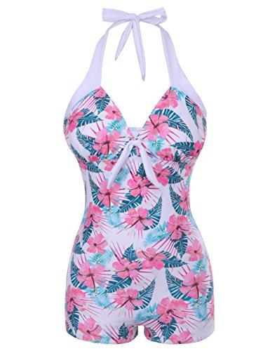 FeelinGirl Donne Sexy Obliquo Fiore Stile Imbottito Costumi Da Bagno Bikini Set Monokini Rosa