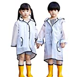 PERTTY Kids Rain Poncho Boys Raincoat Girls Durable Translucent Rain Cape, Outdoor Accessory for Travel, Picnic, Camping, Portable Rain Wear with Hat Hood Unisex for Children, Transparent (L)