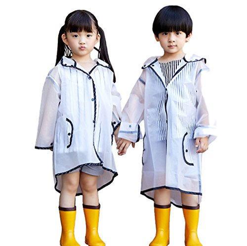 PERTTY Kids Rain Poncho Boys Raincoat Girls Durable Translucent Rain Cape, Outdoor Accessory for Travel, Picnic, Camping, Portable Rain Wear with Hat Hood Unisex for Children, Transparent (L) by PERTTY (Image #7)