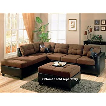 Bon Coaster Fine Furniture 505655Harlow L Sectional Sofa In Chocolate  Microfiber And Dark Brown Faux Leather